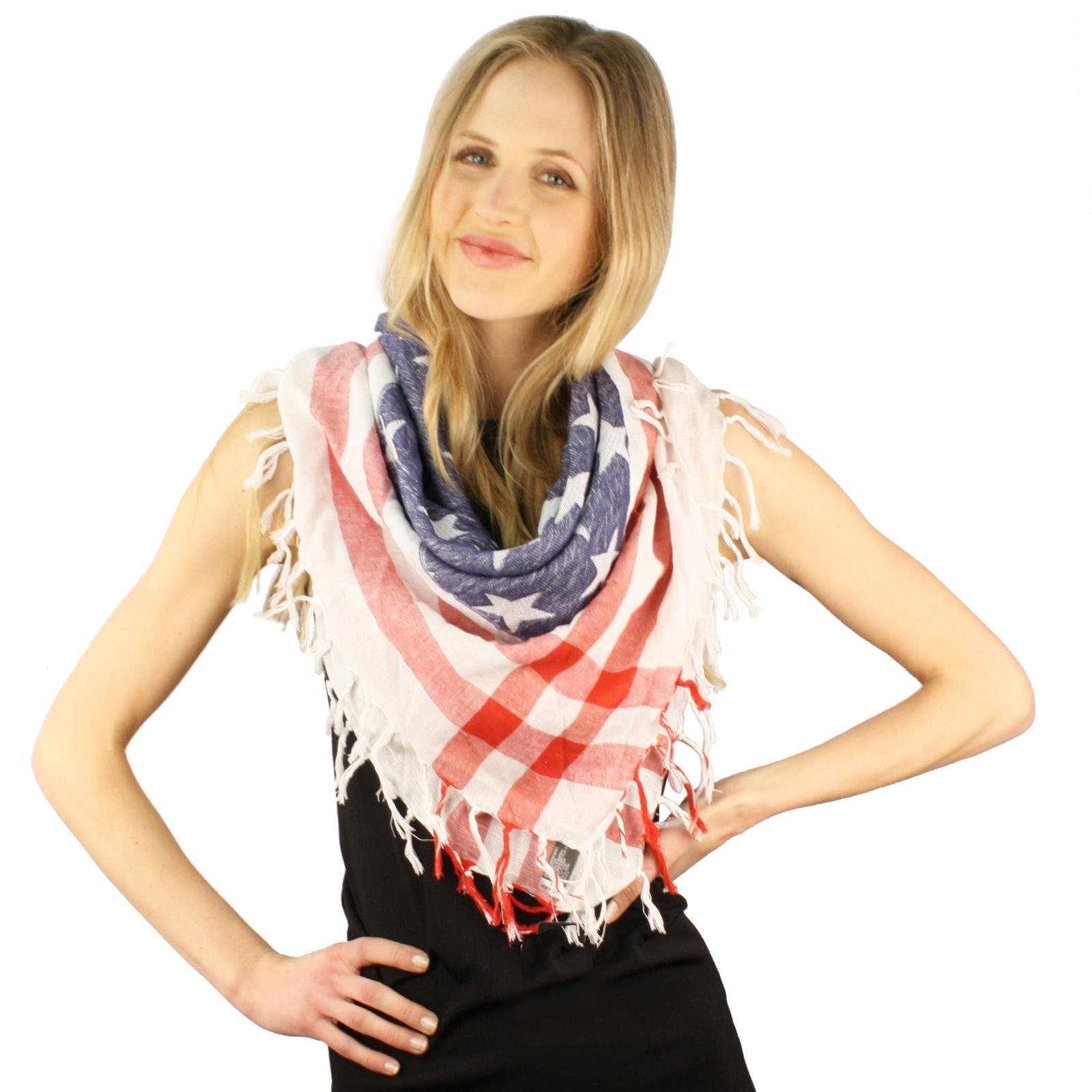 Light Vintage Fringe Cotton Patriotic American USA Flag Summer Scarf Wrap White