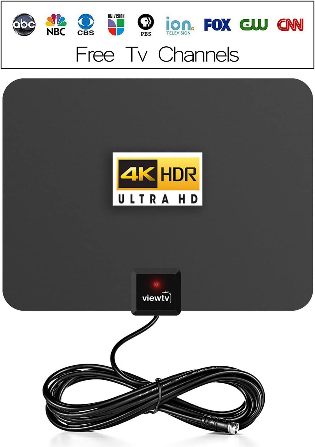 ViewTV 50 Mile Digital TV Antenna Flat Indoor Amplified HDTV - UHF/VHF 1080P Channels w/Detachable Signal Amplifier - 10 FT Copper Coaxial Cable - Black