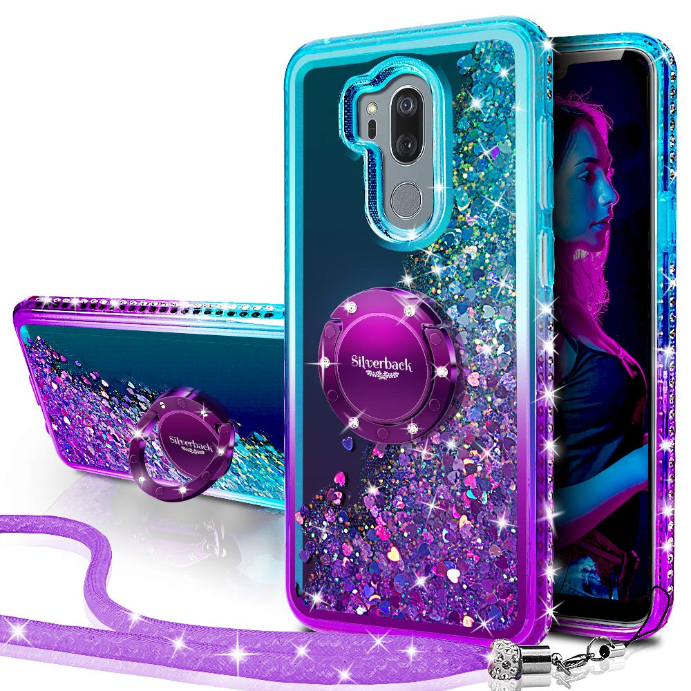 LG G7 Case, LG G7 ThinQ Case Silverback Moving Liquid Holographic Sparkle Glitter Case with Kickstand, Bling Diamond Bumper with Ring Stand Slim Protective Case for LG G7 ThinQ / G7 -Purple