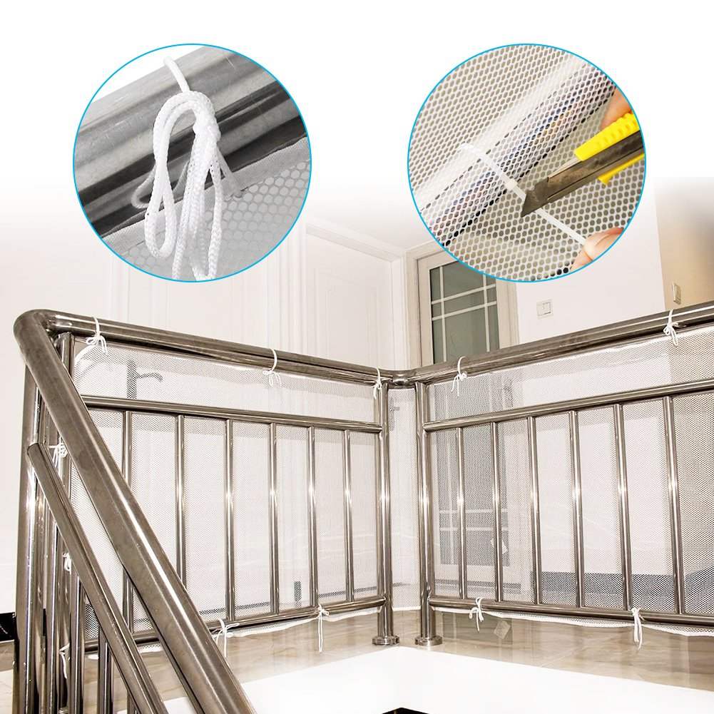 Sturdy Mesh Fabric Material Balcony Patios and Railing Stairs Netting White Color 10ft L x 2.5ft H Safe Rail Net for Kids//Pet//Toy Adsoner Child Safety Net
