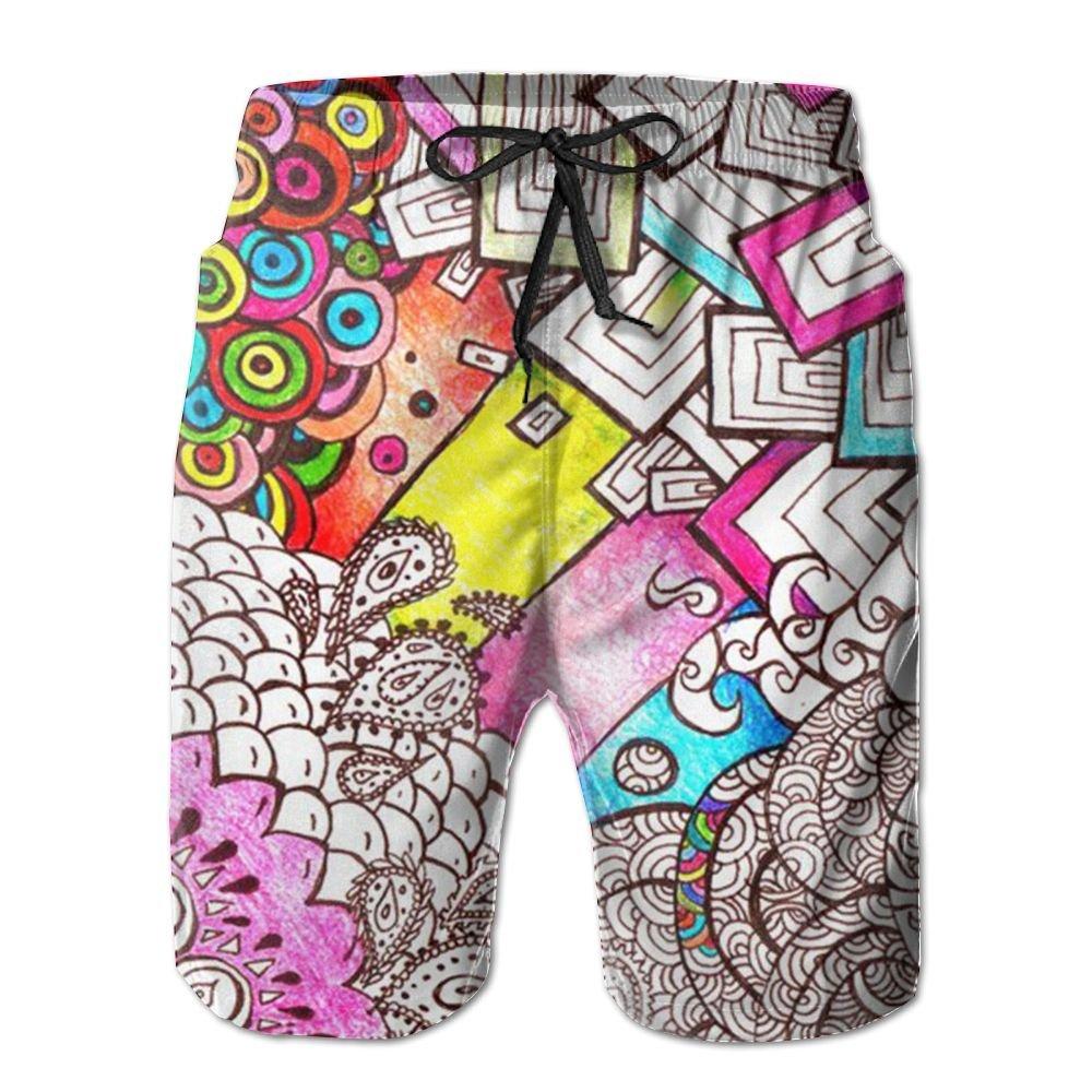 NSYUR Mens Comic Doodle Summer Holiday Quick-Drying Swim Trunks Beach Shorts Board Shorts