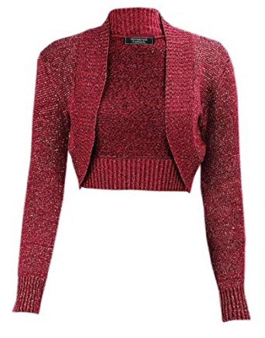Momo& Ayat Fashions Ladies Girls Lurex Metallic Ribbed Collar Cropped Shrug UK Size 8-26