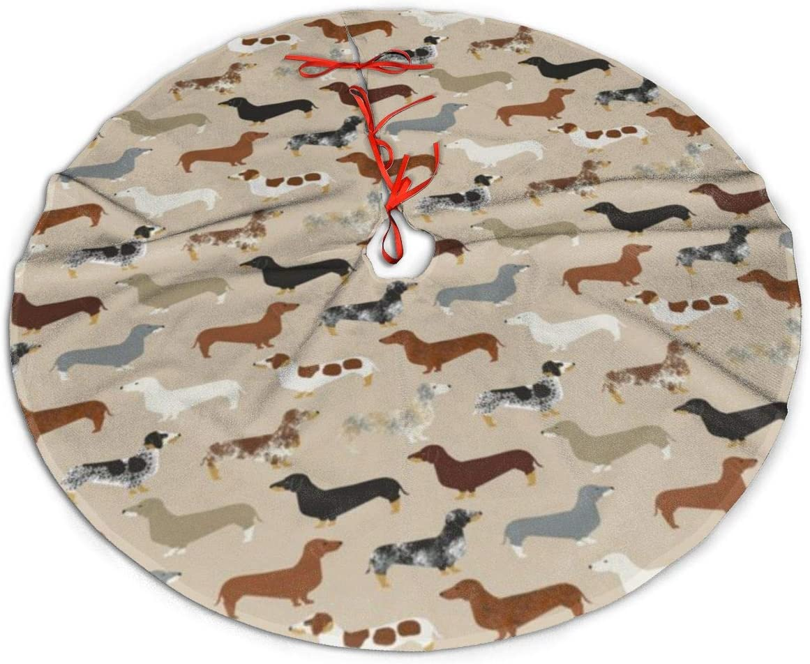 TOLUYOQU Christmas Dachshund Christmas Tree Skirt with Velvet Xmas Tree Skirt Mat for Christmas Decoration Party and Holiday Decor (36 inch)