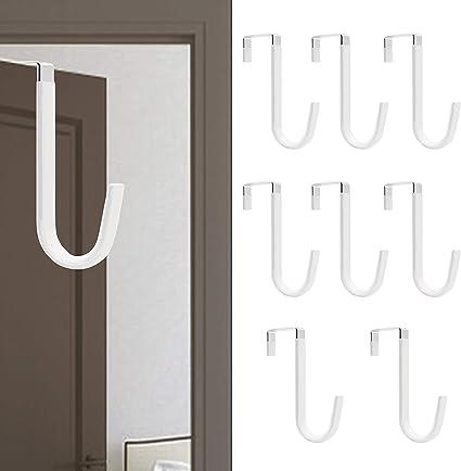 Bathroom Towel Two Sized Reversible Door Hanger Hook Shoe Bag ACMETOP 6 Pack Over The Door Hook Black Kitchen Sturdy Metal Over The Door Hanger for Hanging Coat Robe in Bedroom