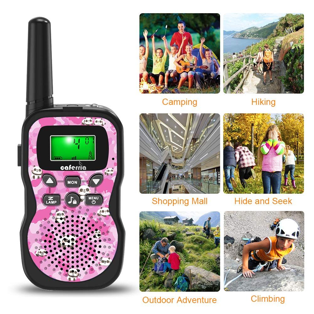 Caferria Kids Walkie Talkies, 22 Channel 2 Way Radio 3 Miles Range Walkie Talkies for Kid with Backlit LCD Flashlight Boys Girls Gift 3 Pack Children Toy Outdoor Adventure, Camping, Hiking (Panda) by Caferria (Image #2)