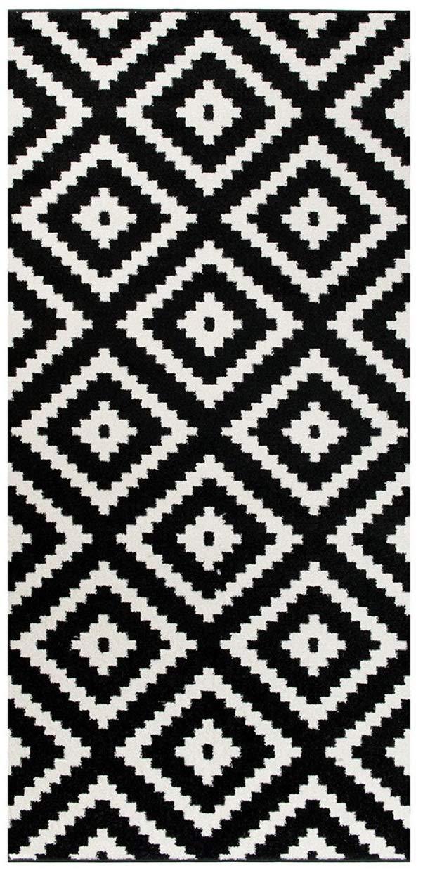 Tapiso MAROKO Läufer Teppich Brücke Flur Flur Flur Modern Geometrisch Marokkanisch Karo Diamant Muster Schwarz Creme ÖKOTEX 70 x 600 cm B07KBSVD3J Lufer 7a7cc2