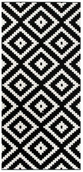 Tapiso LÄUFER BRÜCKE Flur Teppich   Muster Karo MODERN IN SCHWARZ WEIß 70 X  200 Cm