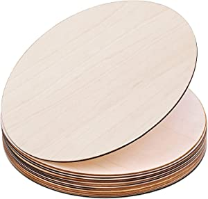 """Binswloo 12"""" Unfinished Wooden Circles Cutouts, Round Blank Wood Slices for Crafts, Painting, Door Hanger and Wall Decor, Package of 12"""