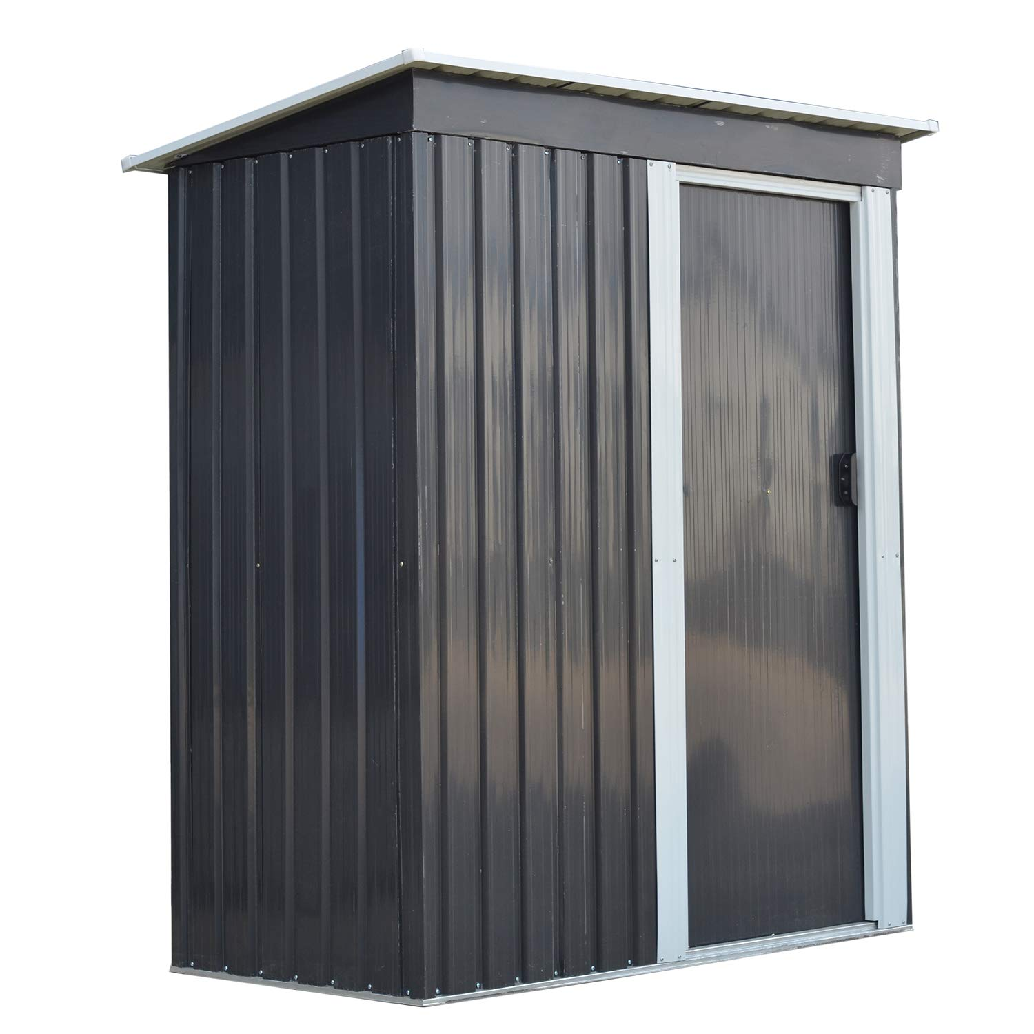 Ainfox Storage Shed, Lawn Garden Toolsheds Durable Paint Finish Steel Backyard Garden Black by Ainfox