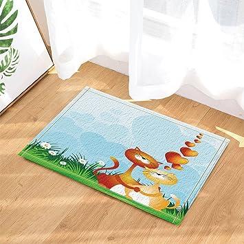Nyngei Alfombra de baño para Gatos con diseño de Dibujos Animados y Flores, Antideslizante,