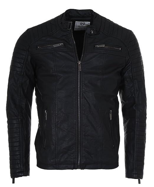 Biker Jacke Vintage Übergangsjacke Schwarz Kunstleder Herren Redbridge M6013 I92WEDHY