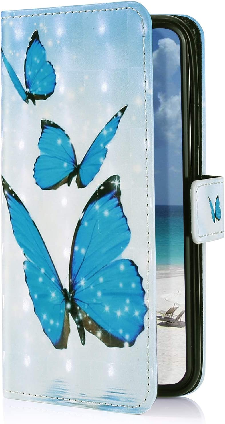 YSIMEE Compatible with Samsung Galaxy A70 Cases,3D Painted Pattern PU Leather Wallet Stand Flip with Magnetic Closure Kickstand Card Slots Holder Drop Proof Shockproof Protective Cover,Blue Butterfly