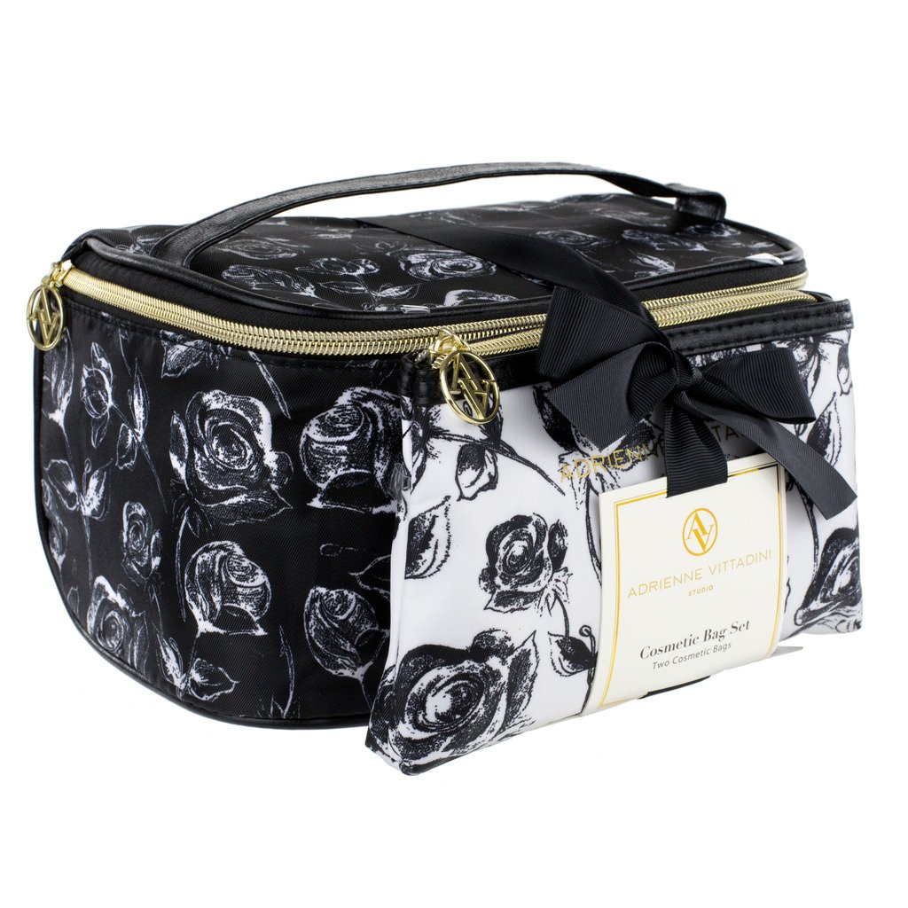 c05442cf45b3 Adrienne Vittadini Makeup Bag Set  Nylon Carry On Toiletry   Cosmetic Train  Case with Zipper