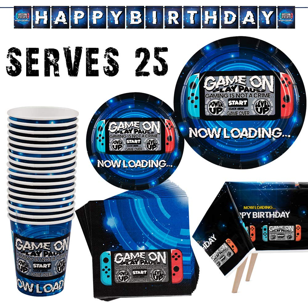 Video Game Party Supplies-102pcs Birthday Decoration For Gamers Includes Paper Plates, Paper Cups, Napkins, Table Cover and Dcoration Banner(Serves 25 ) by Party Fun
