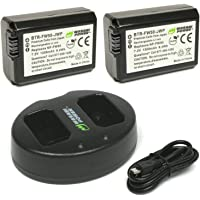 Wasabi Power NP-FW50 Battery (2-Pack) and Dual USB Charger for Sony Alpha a5100, a6000, a6300, a6400, a6500, Alpha a7 II, a7R, a7R II, a7S, a7S II, Cyber-Shot DSC-RX10 II, RX10 III, RX10 IV and More