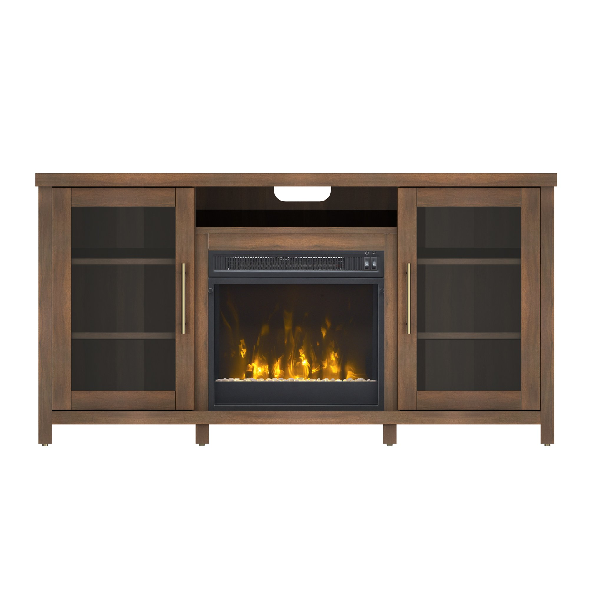 Pamari 208282 Milena Stand with Electric Fireplace for Tvs up to 60'' Stanton Birch Brown