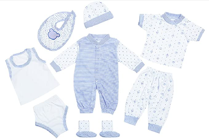 fe7db1941fbb Amazon.com  8PCS Cotton Newborn Baby Clothes Clothing Set Includes ...