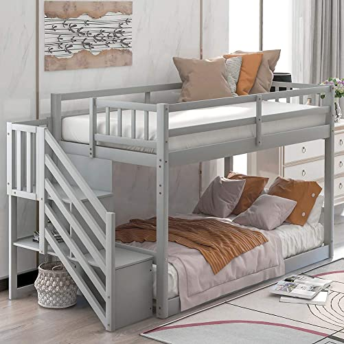 YSKWA Twin Over Twin Floor Bunk Bed