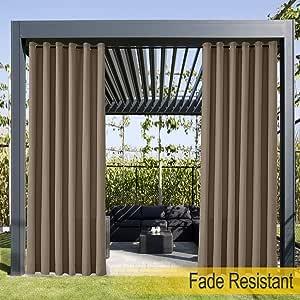 Cortina para exteriores resistente al agua, resistente a la decoloración, ojales inoxidables, cortinas para porche delantero, pergola, cabana, patio cubierto, cenador, muelle y casa de playa (1 panel).: Amazon.es: Jardín