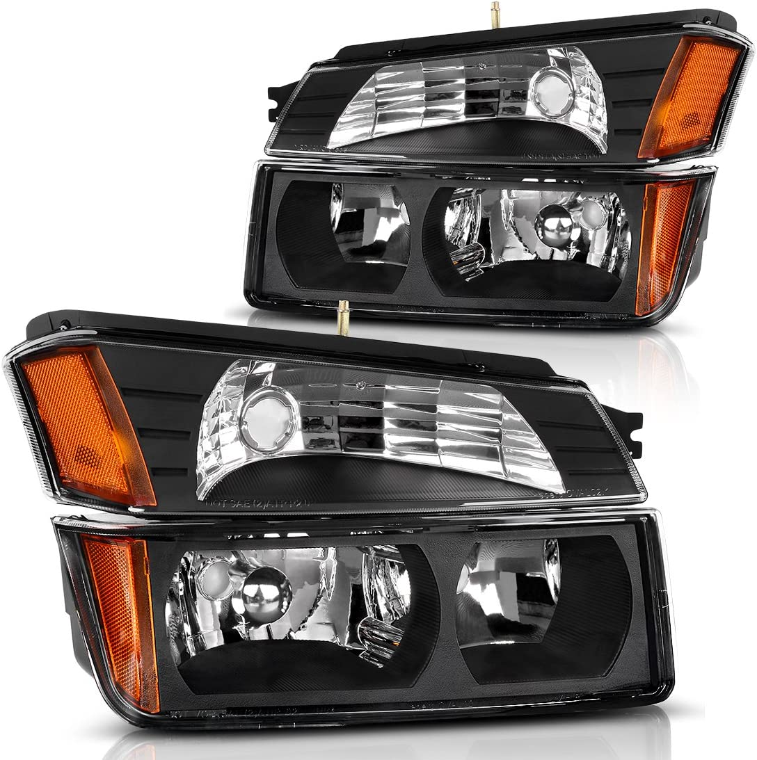 For Chevy Avalanche Body Cladding Model Black Bezel Bumper Turn Signal Light Lamps Replacement Pair