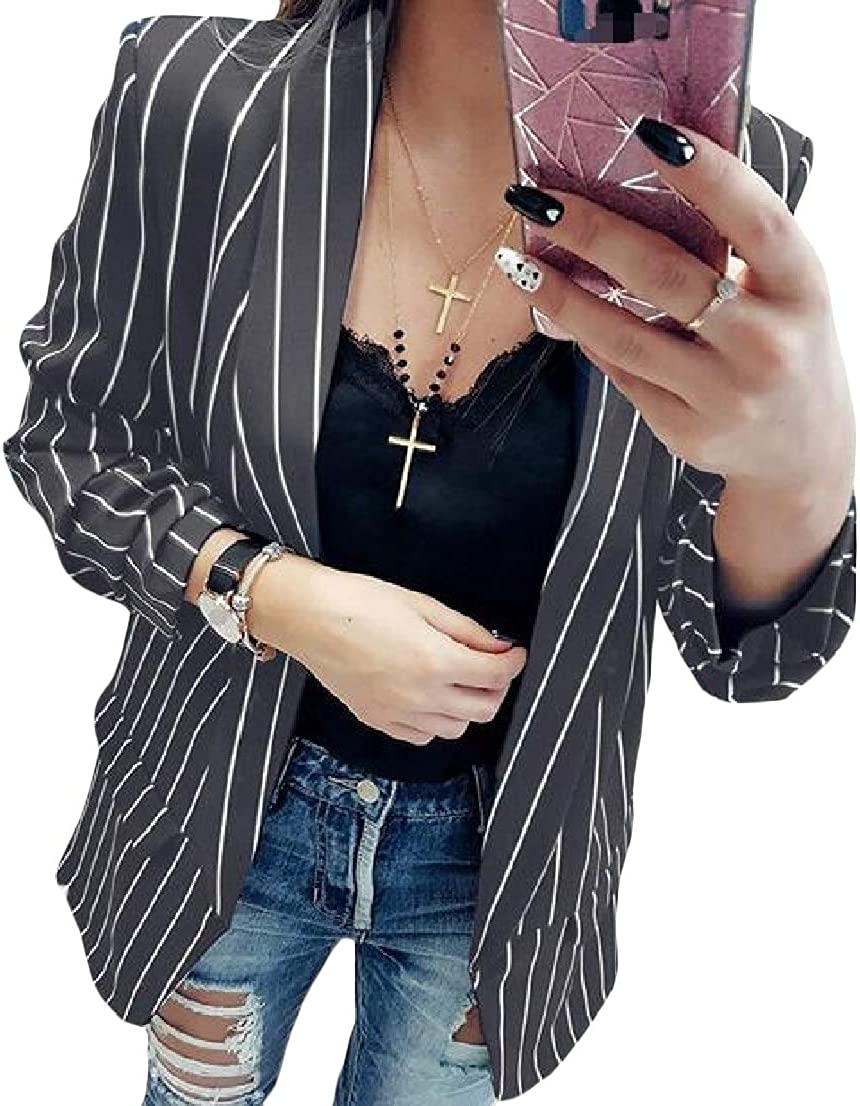 BAYYWomen Lapel Strip Pocket Mid-Long Long-Sleeve Weekend Blazer Jackets
