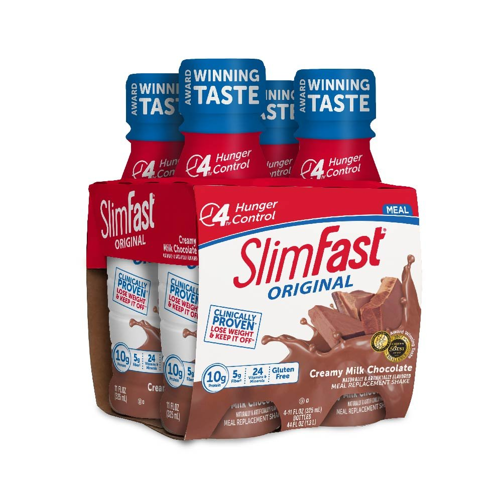 Slim Fast Ready to Drink High Protein Meal Replacement Shake, Creamy Milk Chocolate,11 oz Bottle (Pack of 24)