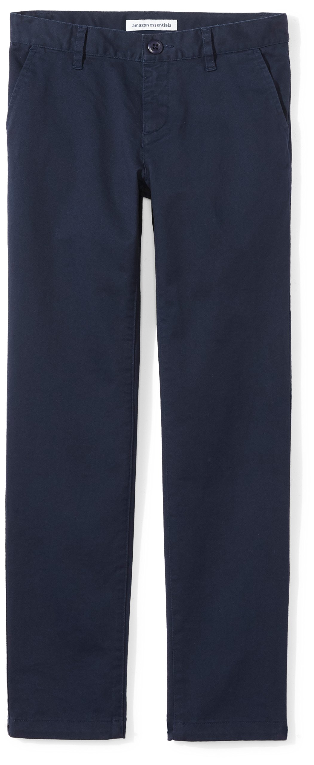 Amazon Essentials Girls' Flat Front Uniform Chino Pant, Navy,6