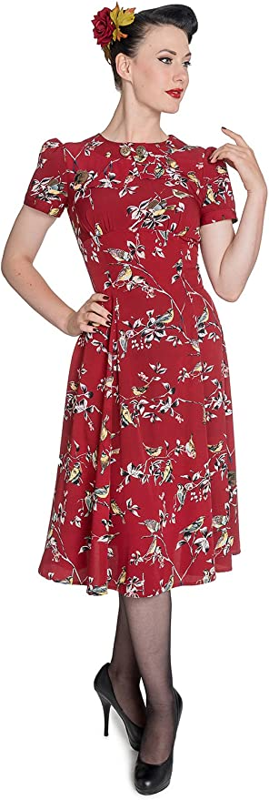 1940s Dresses | 40s Dress, Swing Dress Hell Bunny Birdy 40s 50s Tea Party Pin Up Landgirl WW2 Retro Vintage Style Dress £34.99 AT vintagedancer.com