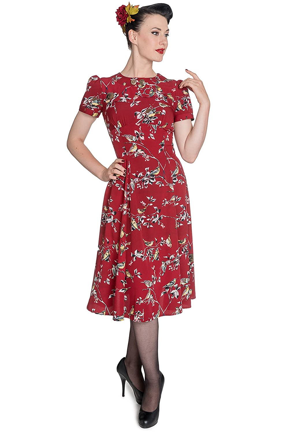 1950s Dresses, 50s Dresses | 1950s Style Dresses Hell Bunny New Birdy Vintage Landgirl 40s Dress $39.99 AT vintagedancer.com
