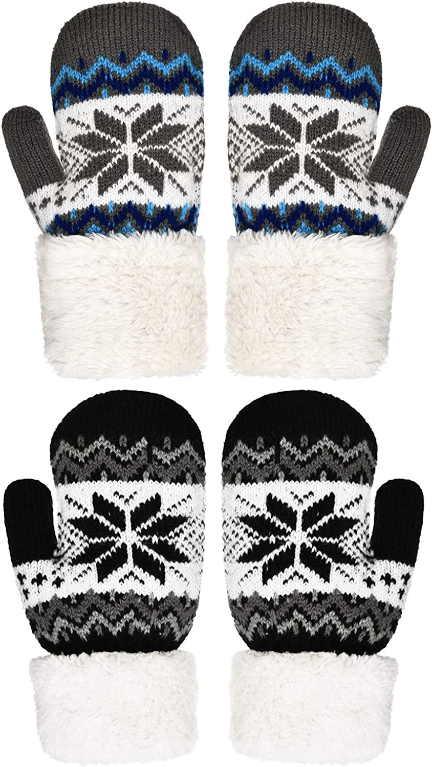 4 Pairs Kid Winter Fleece Lined Knit Mittens Full Finger Thicken Gloves Warm Snowflake Stretch Mittens Knit Gloves for Boys Girls