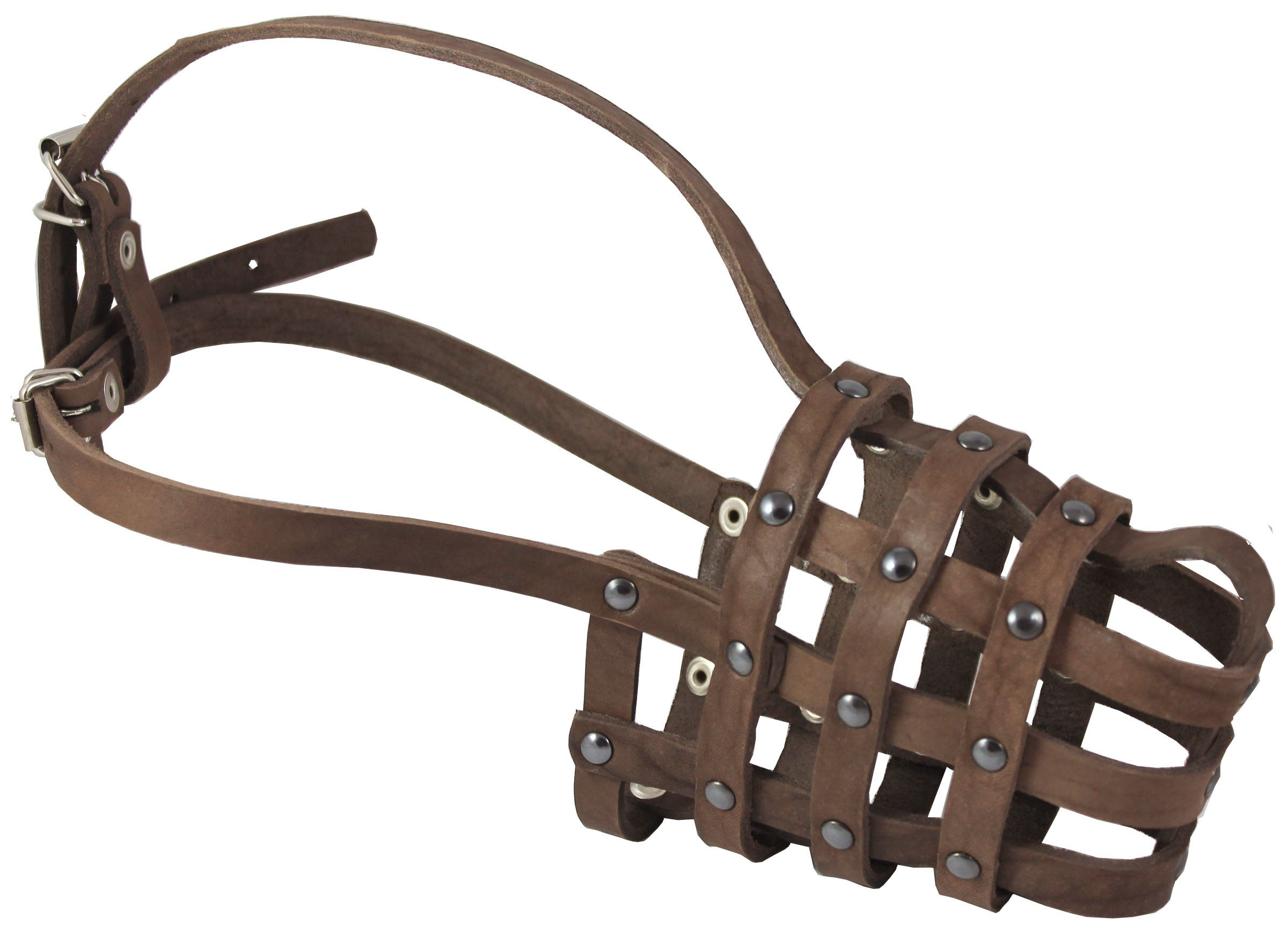 Leather Mesh Basket Secure Dog Muzzle #143 Brown - German Shepherd, Labrador, Husky, Retriever (Circumference 11.5'', Snout Length 4.25'') by Dogs My Love
