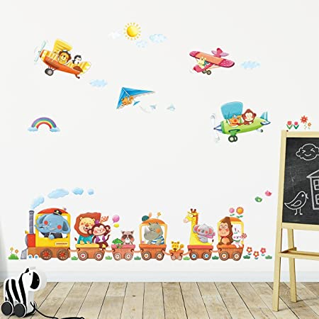 Decowall dat 1406a1506b animal train and biplanes kids wall stickers wall decals peel and stick