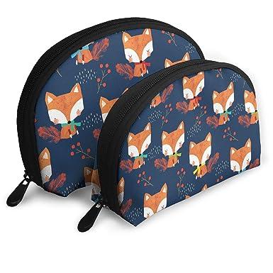 Amazon.com: Cute Fox Cosmetic Bag - 2 Piece Set Makeup Travel Pencil Pen Case Storage Portable: Clothing
