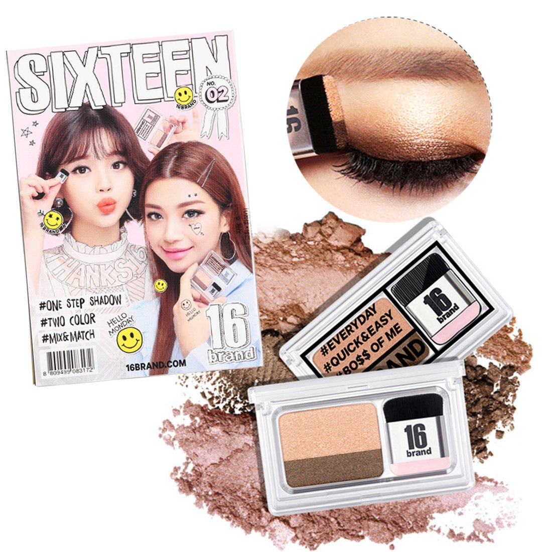 Turelifes Lazy Eyeshadow Stamp 16 brand Holiday Edition Everyday Magazine eye shadow with Double Colors Glitter Gradient Eye Shadow Palette Long Lasting (#2 Double Light Brown)