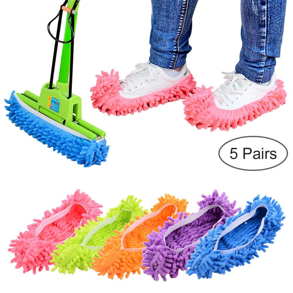 Lanting Dusting Mop Slippers, 5 Pairs Microfiber Sweeping Slippers House Floor Polishing Slippers Dusting Cleaning Foot Socks Shoes