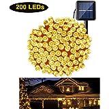 مصابيح بيضاء دافئة لخيط الطاقة الشمسية 200 مصباح LED لتزيين خيوط حديقة العطلة وحديقة الفناء وحفلات التخييم وحفلات الزفاف في الأماكن المغلقة والخارجية