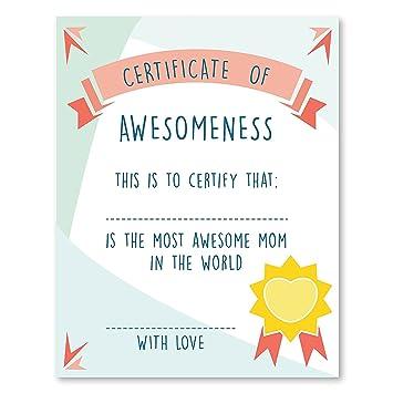 amazon com certificate of awesomeness mom s decor 24x36 inch