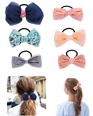 Women Fashion Headwear Elastic Headband Contrast Color Bow Available In Variety Of Colors Ponytail Hair Casual Rope Apparel Accessories