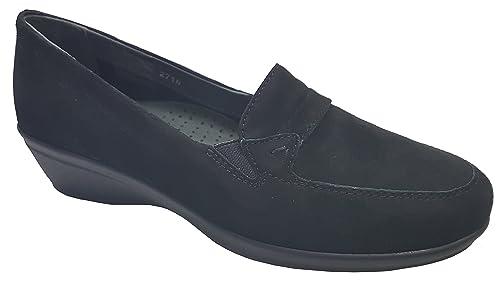Scholl - Mocasines de Ante para Mujer Negro Negro: Amazon.es: Zapatos y complementos