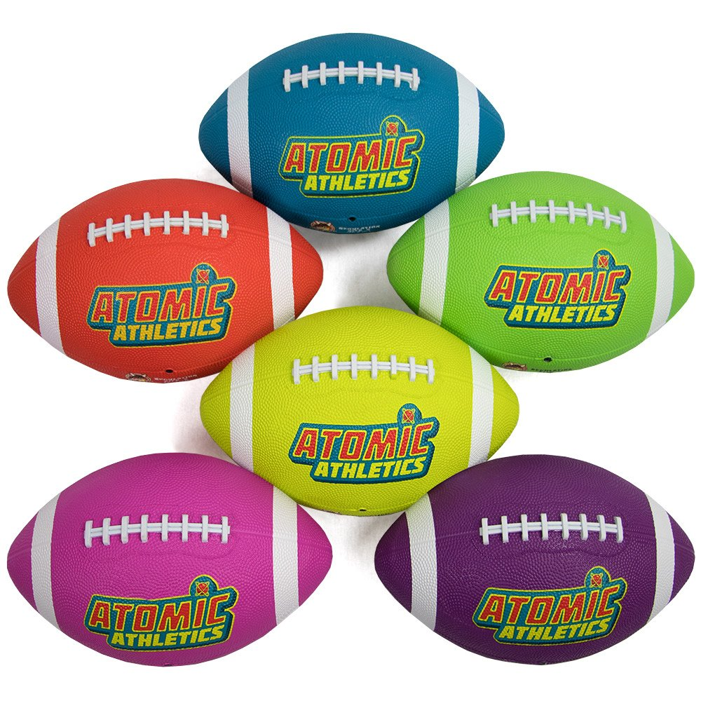 K-Roo Sports Atomic Athletics 6 Pack of Neon Rubber Playground Footballs - Regulation Size 9, 11.5'' Balls with Air Pump and Mesh Storage Bag by K-Roo Sports