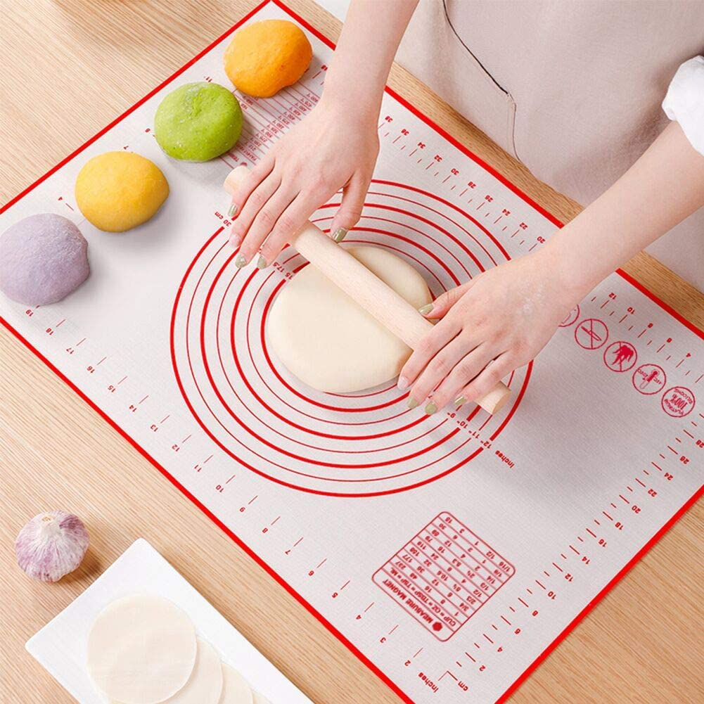 "Non Slip Silicone Pastry Mat, Large Non-stick Baking Mat for Rolling Dough, Baking, Fondant, Pie Crust, Pizza, Bread, Cookie- Easy Clean Kneading Mats with Measurements(16"" x 24"")"