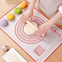 "Non Slip Silicone Pastry Mat, Large Non-stick Baking Mat for Rolling Dough, Baking, Fondant, Pie Crust, Pizza, Bread, Cookie- Easy Clean Kneading Matts with Measurements(16"" x 24"")"