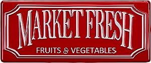 """Barnyard Designs Market Fresh Retro Vintage Tin Bar Sign Primitive Country Home Decor 17"""" x 7"""""""