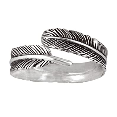 elli women s 925 sterling silver adjustable feather wrap ring
