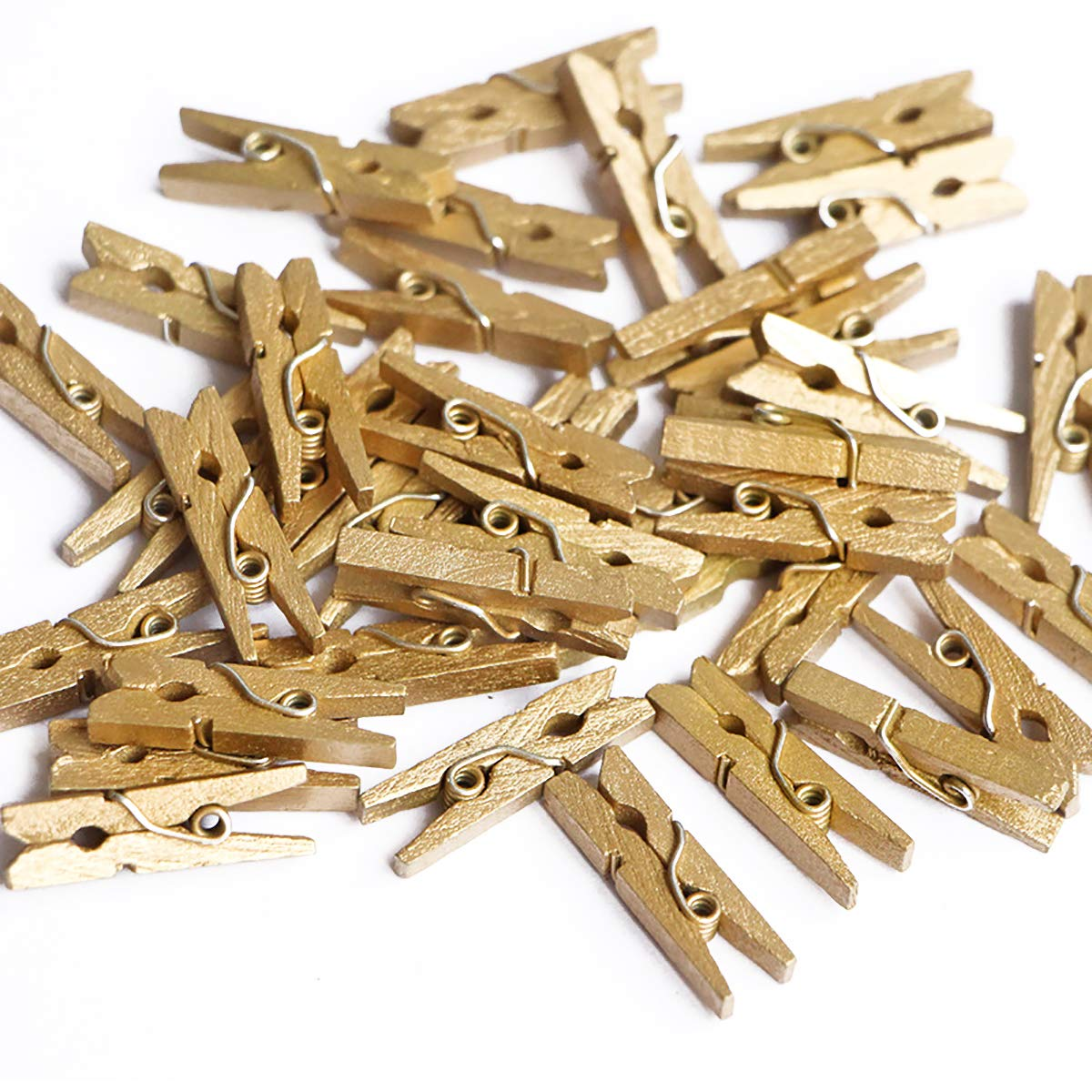 100 Ct Metallic Gold 1.35'' Miniature Wooden Clothespins Photo Paper Pin Craft Clips Wood Peg for DIY Craft Eembellishment New Year Christmas Great Gatsby Party Decoration Rustic Wedding Baby Shower by ALLHEARTDESIRES