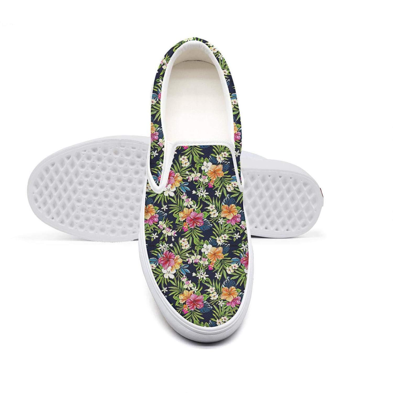 RivasPsm Womens Slip-on Loafer Hawaiian Flower Casual Sneaker Flat Walking Shoes Round Toe