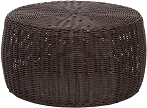 Outdoor Round Wicker Ottoman Brown Large Coffee Patio Table Rounded Shape Circular Footstool Living Room Furniture Indoor Strong Sturdy Beach Coastal Nautical Themed, Metal Resin