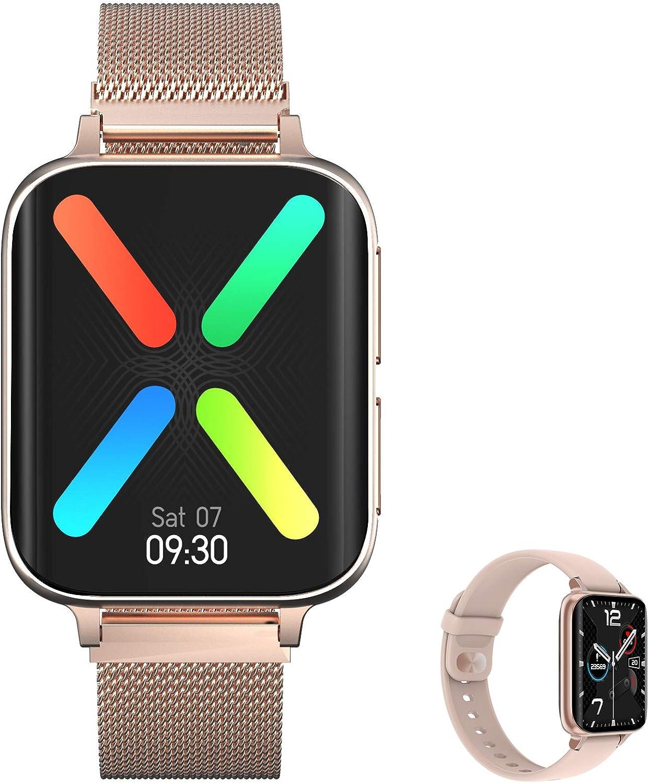 Aliwisdom - Reloj Inteligente para Hombre Mujere, Smartwatch con Llamadas Bluetooth y Recordatorio de Whatsapp y reproducción de música Impermeable Reloj Deportivo para iPhone Android (Oro Rosa)