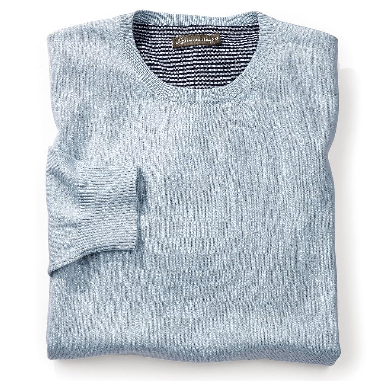 Samuel Windsor Men's Wool Cotton Mix Jumper Crew Neck Light Blue.