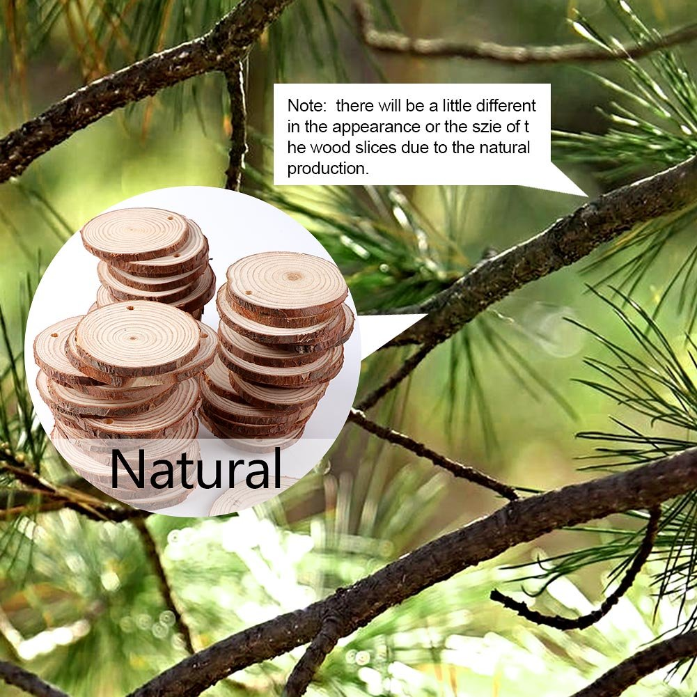 AerWo 50pcs Hanging Wood Slices + 50pcs Twines, Unpainted Natural Round Blank Wood Slices, DIY Craft Rustic Wedding Decoration Vintage Wedding Ornaments by AerWo (Image #5)